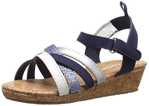 carter's Lana-C Wedge Sandal (Toddler/Little Kid), Navy/Silver/White, 11 M US Little Kid