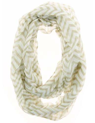 Cotton Cantina Soft Chevron Sheer Infinity Scarf (Earth/White)
