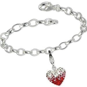 SilberDream exclusive Charms - bracelet complètement organisé avec un charm d'argent coeur swarovski elements kristalle - Argent 925 Sterling - FCA117