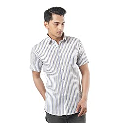 ZIDO Blue Blended Men's Striped Shirts PCFLXHS1296_Blue_38