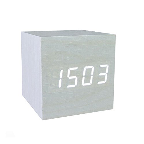 Amars(Tm) Ultra-Simple Fashion Wooden Rechargeable Alarm Clock With Usb Large Display With Temperature Date Sound Control Cube Shape 9502