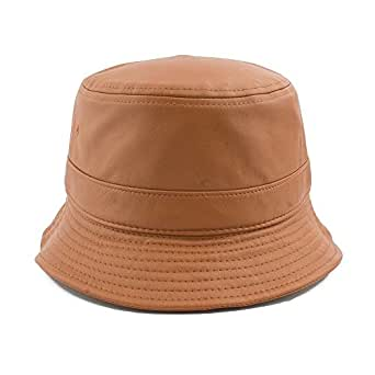 Leather Bucket Hats One Size for Unisex L.Brown at Amazon ...