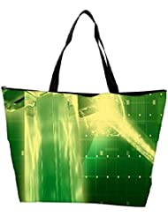 Snoogg Green Crystal In The Grid 2638 Waterproof Bag Made Of High Strength Nylon