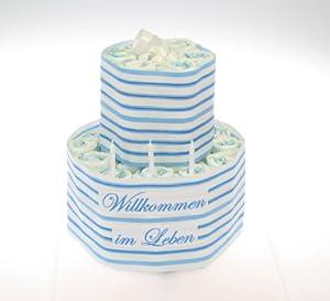 windeltorte willkommen im leben blau geschenk zur taufe. Black Bedroom Furniture Sets. Home Design Ideas
