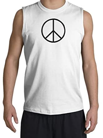 BASIC PEACE BLACK Sign Symbol Adult Sleeveless Muscle Shirt Tank Top Tanktop Shooter - White, Large