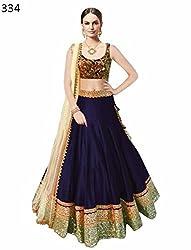 Awesome Fab Royal Blue Colour Bangalori Silk Semi-stitched Embroidered Lehenga Choli