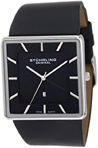 Stuhrling Original Men's 342.33151 Classic Ascot Saratoga Swiss Quartz Ultra Slim Date Black Leather Strap Watch