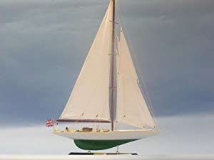 "Shamrock Limited 27"" Model Sailboat - Already Built Not a Kit - Wooden Sail Boat Replica Model Sailing Yacht America's Cup Racer Nautical Home Beach Wall Décor or Gift"