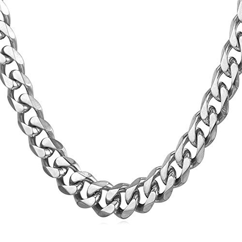 Men's Stainless Steel 9mm Curb Link Cuban Chain Necklace,22