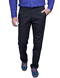 Routeen Men's Fabos Black Slim Fit Cotton Casual Chinos Pants