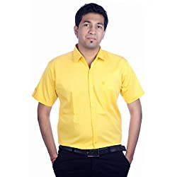 Aaduki Men's Casual Yellow Shirt-42