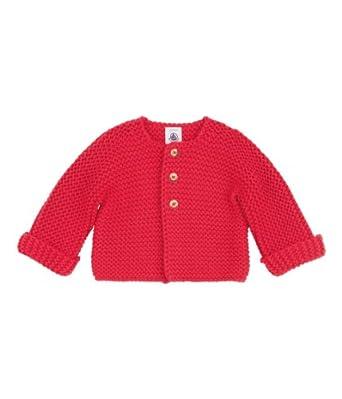 Petit Bateau - Gilet - Uni - Col ras du cou - Manches longues - Mixte bébé - Rose (Coeur) - FR : 3 mois (Taille fabricant : 3 mois)