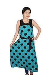 DEVANGINI GREEN BLACK DOT Dress for womens :- SP-002