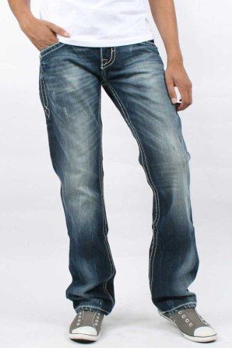 Rock Revival - Mens Gary Straight Leg Denim Jeans Color: T4, Size: 31, Color: Denim