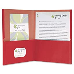 Oxford 78511 Earthwise 100% Recycled Paper Twin-Pocket Portfolio, Red