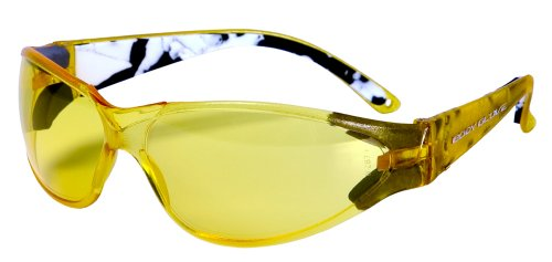 Body Glove 90380 V-Line High-Impact Safety Glasses, Yellow Frame, Yellow Lens
