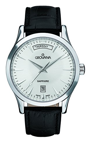 GROVANA 1201.1532 - Reloj de pulsera hombre, piel, color negro