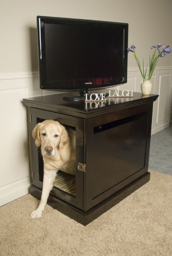 DenHaus TownHaus Indoor Dog House and End Table, Espresso, Large