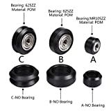 CNC Openbuilds Wheels Plastic POM Small&Big Passive Round Wheel Idler Pulley Gear perlin Wheel & V-Type for V-Slot C-Beam - (Size: Cx5) (Tamaño: Cx5)