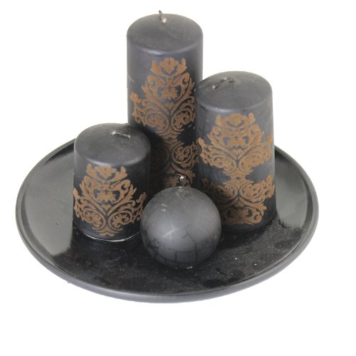Essential Decor Entrada Collection 4Pc Black Metallic Candle with Plate Holder