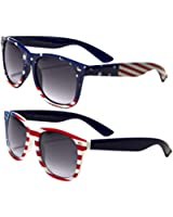 2 Pairs Classic American Patriot Flag Wayfarer Style Sunglasses USA Red White Blue bulk