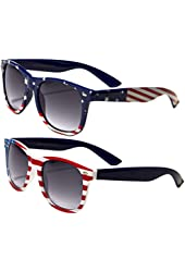 2 Pairs Classic American Patriot Flag Wayfarer Style Sunglasses USA Red White Blue bulk