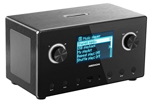Medion LIFE P85043 (MS 87385) WiFi Stereo Internet-Radio, Empfang von mehr als 15.000 Internet Radiosendern, DAB+ Empfänger, Steuerung durch kostenlose App, DLNA 1.5 kompatibel, schwarz