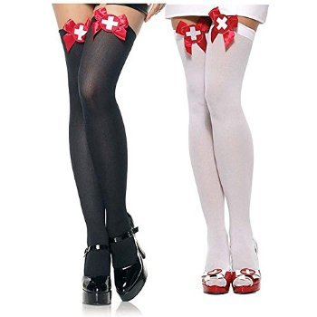 Naughty Nurse Opaque Thigh Highs Hosiery - One Size - Dress Size 6-12