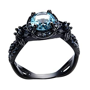 Rongxing Jewelry Topaz Ring Crystal Ocean Blue Chain Women's Black Gold Filled Wedding Size 10 by Rongxing