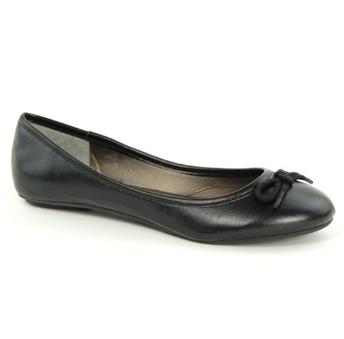 Womens Flat Round Toe Pump Ladies Bow Ballerina