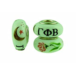Gamma Phi Beta Sorority Hand Painted Fenton Glass Bead