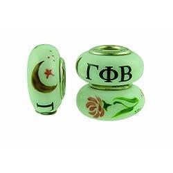 Gamma Phi Beta Sorority Hand Painted Fenton Glass Bead