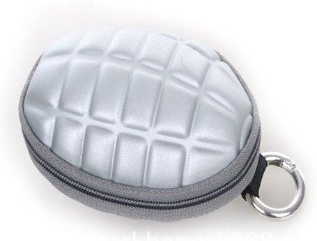 手榴弾タイプ キー&コインケース カモ グレネード コインケース キーケース パスケース カラビナ型 6連フック付 Marib-170247 (シルバー)