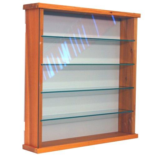 EXHIBIT - Solid Wood 4 Shelf Glass Wall Display Cabinet - Pine