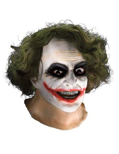 Scary-Masks Joker Latex Mask W Hair Halloween Costume - Most Adults