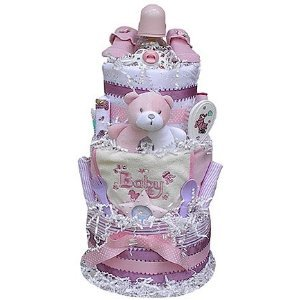 3 Tiered Diaper Cake for Girls