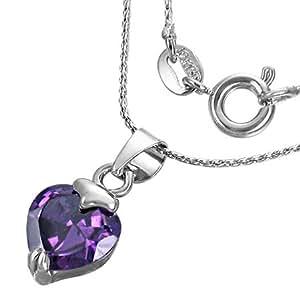 Fashion Kristall Love Herz Charm Halskette mit Schmuckstein - Lila