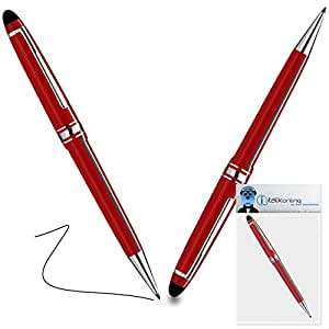 iTALKonline Kyocera C5155 Red PRO Captive Touch Tip Stylus Pen with Rubber Tip with Roller Ball Pen