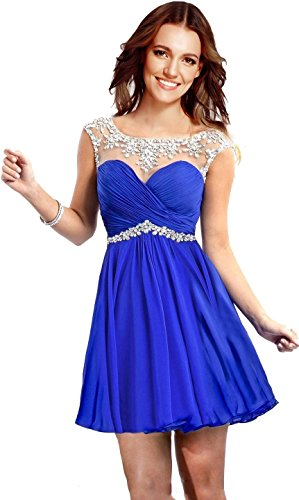 Rongstore Women's Chiffon Short Party Gowns 2016 Homecoming Dresses for Girls Royal Blue US4 (Blue Store compare prices)