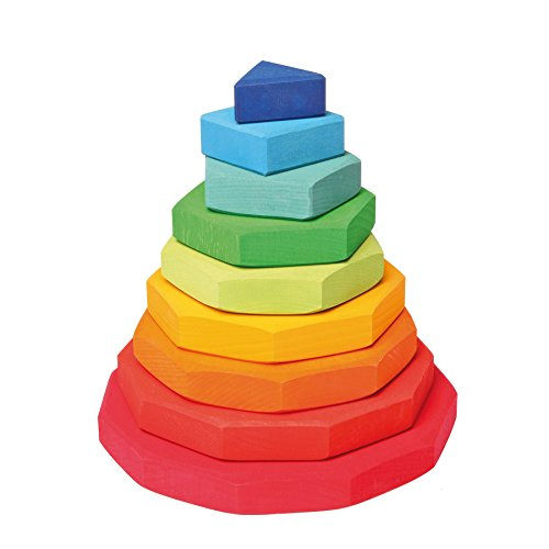 Grimm's Wooden Conical Stacking Tower of 9 Rainbow-Colored Geometric Shapes (from Triangle to 11-Sided) - 1