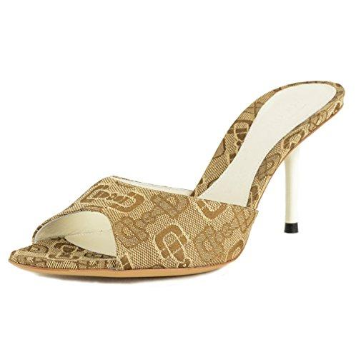 Gucci Shoes Beige Canvas Horsebit Logo Mules Slides Lower Heel