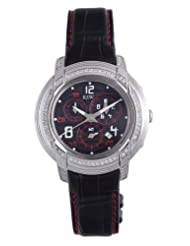 RSW Men's 4130.BS.L1.14.F1 Volante Round Black Dial Chronograph Sapphire Crystal with Red Topstitching Diamond Watch