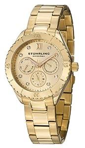 Stuhrling Original Women's 549.03 Symphony Regent Gala Quartz Day and Date Gold Tone Bracelet Watch