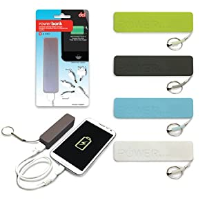 DCI Mobile Power Bank Universal External Battery Charger for iPhone 4/4S/5 and Samsung Devices - Retail Packaging - Color May Vary, Green/Black/Blue/White