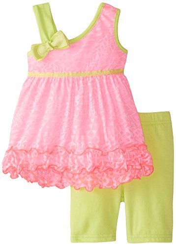 Youngland Baby Girls' Asymetrical Shoulder Burnout Tunic with Bike Short, Pink/Lime, 18 Months
