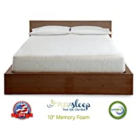 PuraSleep 10 Inch CoolFlow Memory Foam Mattress - Made In The USA - 10-Year Warranty - QUEEN