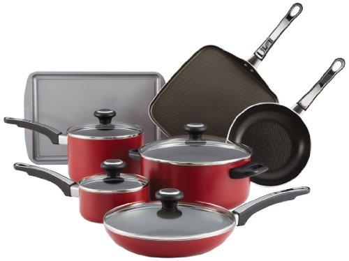 Farberware High Performance Aluminum Nonstick 12-Piece Cookware Set, Red
