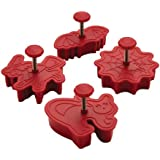 Cake Boss Decorating Tools 4-Piece Halloween Fondant Press Set, Red
