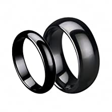 buy His & Her'S 7Mm/5Mm Black Ceramic High Polish Domed Wedding Band Ring Wedding Band Ring Set , Ladies Size 8.5 - Mens Size 11.5