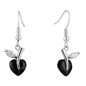 Pugster Black White Clear Heart-shaped Leaf Dangle Swarovski Crystal Fish Hook Earrings
